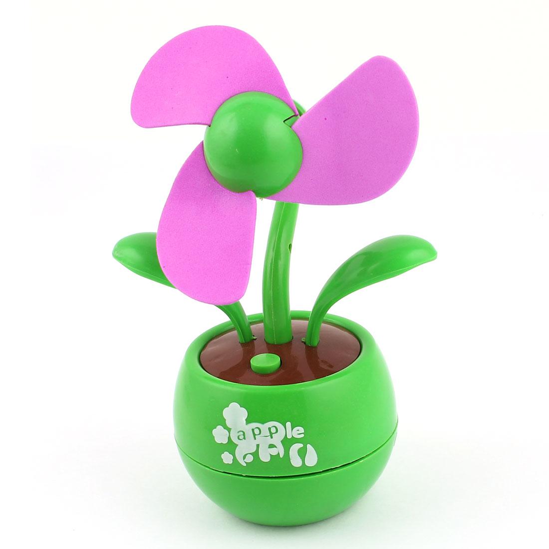 Portable Flower Shape Green Apple Base Soft Foam Flabellums USB Fan
