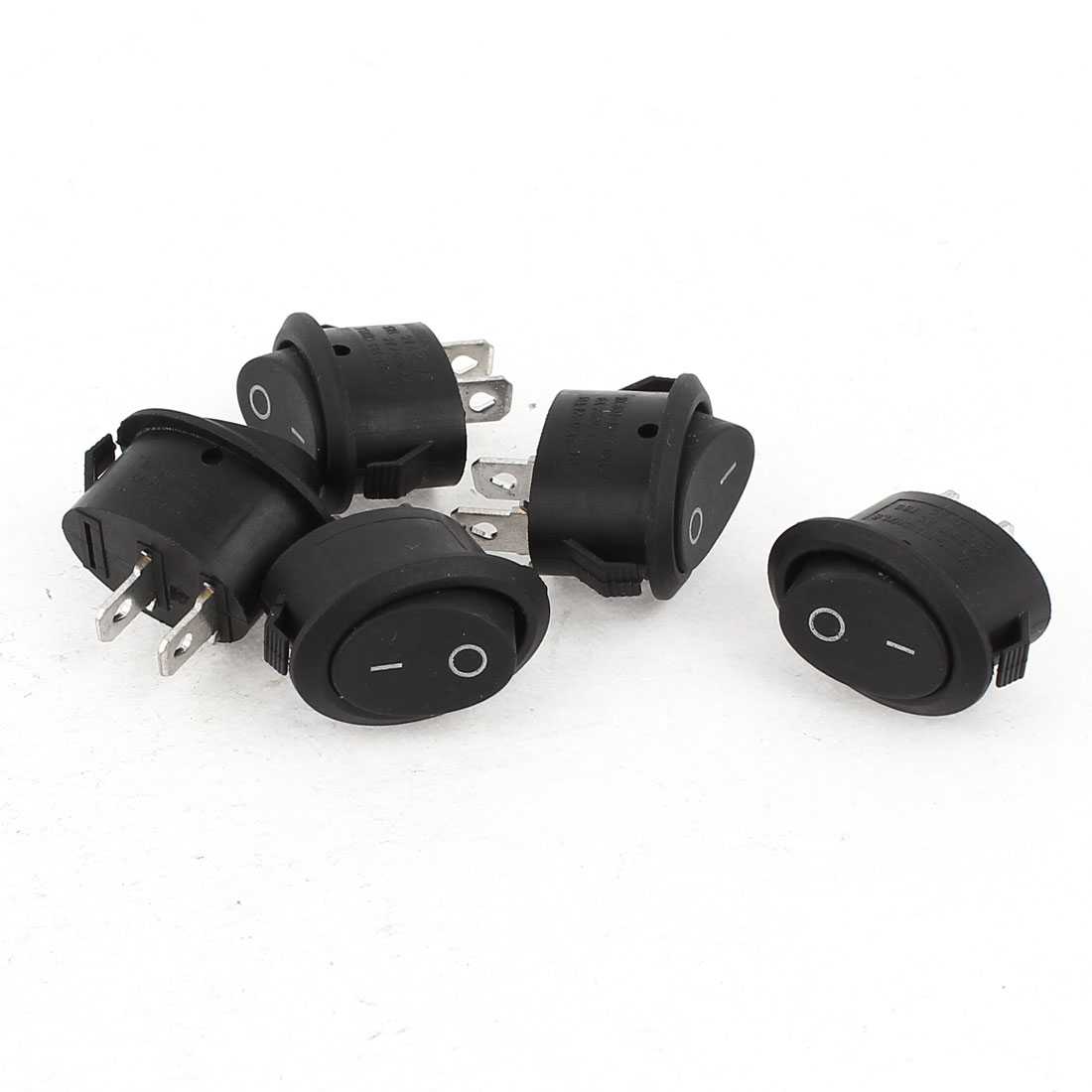 5 Pcs AC 6A/250V 10A/125V SPST On/Off Oval Rocker Switch