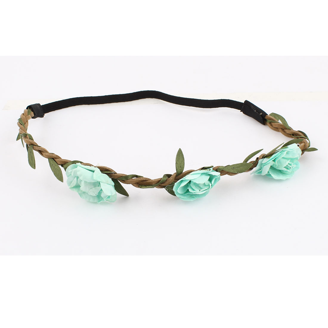 Women Hairstyle Green Rose Flower Design Elastic Fiber Stretch Braided Hairbelt Head Band