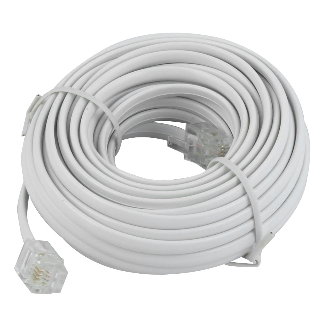 6M 20Ft 6P4C RJ11 Telephone Phone Flat Line Cord Cable White