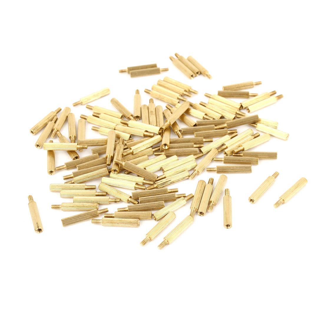 100Pcs Male to Female Thread PCB Board Brass Pillars Standoff M2x14mm