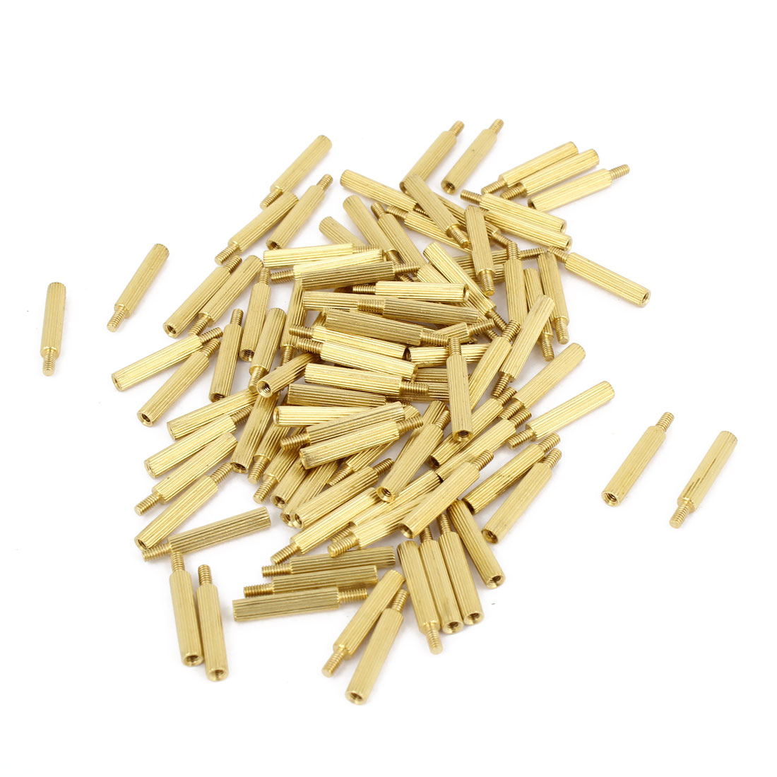 100Pcs Male to Female Thread PCB Board Brass Pillars Standoff M2x15mm