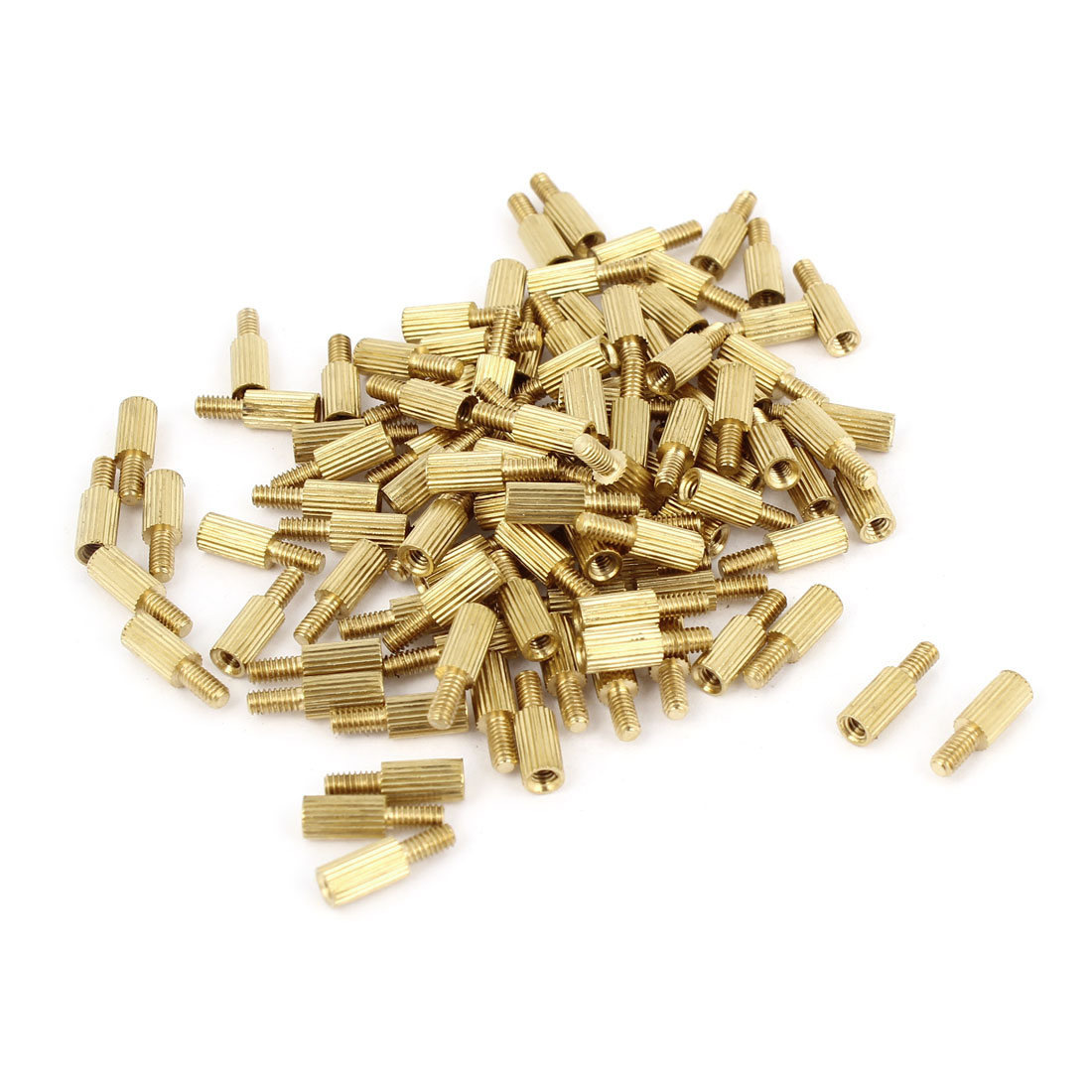 100Pcs Male to Female Threaded PCB Board Brass Pillars Standoff M2x6mm
