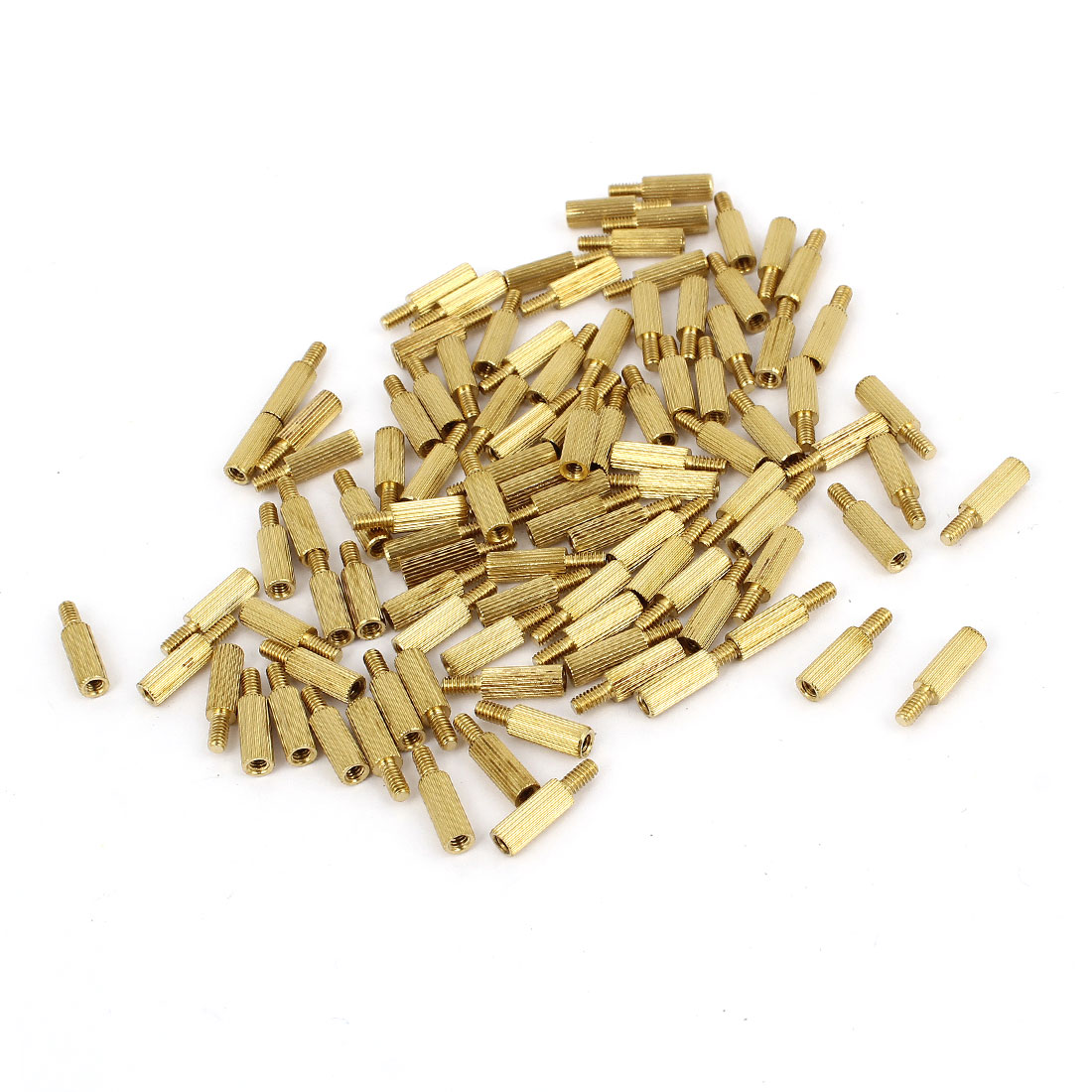 100Pcs Male to Female Threaded PCB Board Brass Pillars Standoff M2x8mm