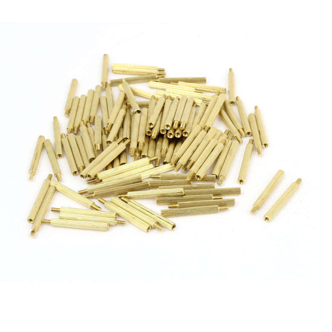 100Pcs Male to Female Thread PCB Board Knurled Brass Pillars Standoff M2x23mm