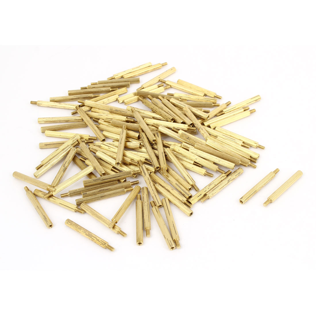100Pcs Male to Female Thread PCB Board Knurled Brass Pillars Standoff M2x24mm