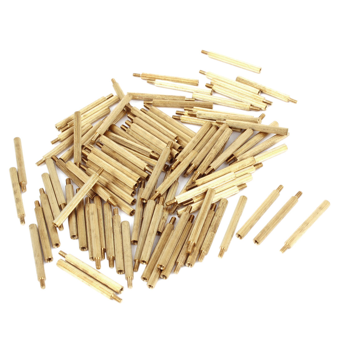100Pcs Male to Female Thread PCB Board Knurled Circuit Board Brass Pillars Standoff M2x26mm