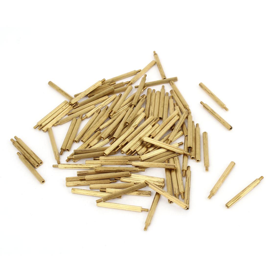 100Pcs Male to Female Thread PCB Board Brass Pillars Standoff M2x27mm