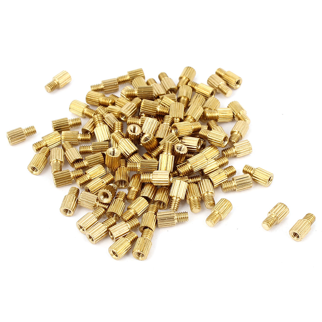 100Pcs Male to Female Thread Grooved Brass Pillars Standoff M2x4mm