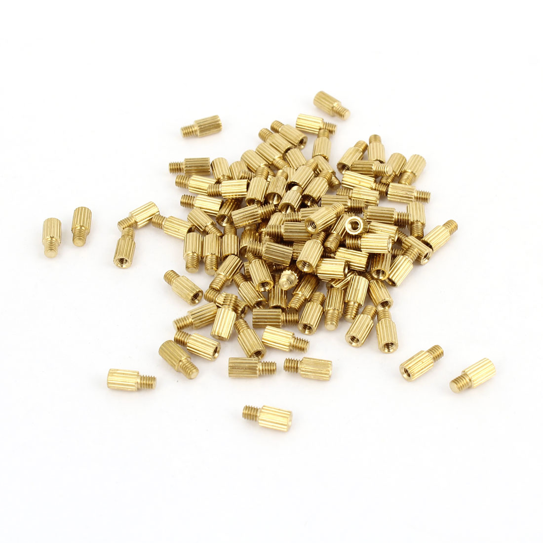100Pcs Male to Female Threaded PCB Board Brass Pillars Standoff M2x5mm