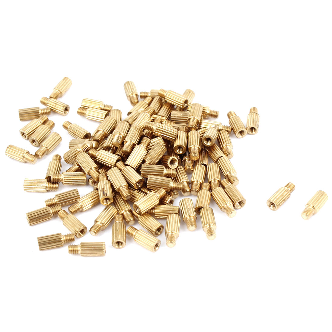 100Pcs M2 Male to M2 Female Thread Grooved Brass Pillars Standoff