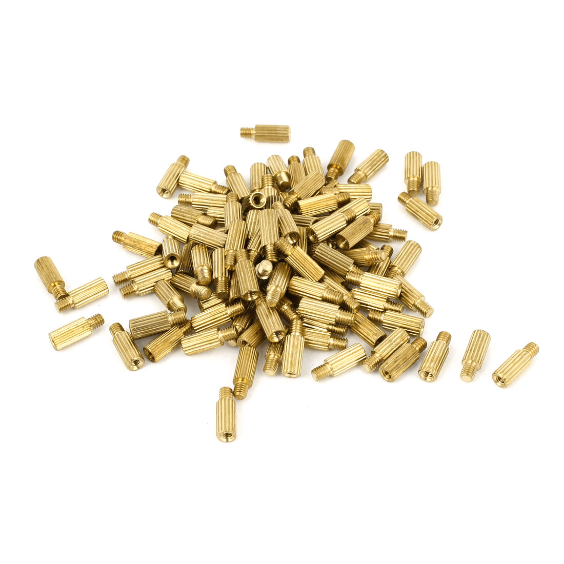 100Pcs Male to Female Thread Grooved Brass Pillars Standoff M2x7mm