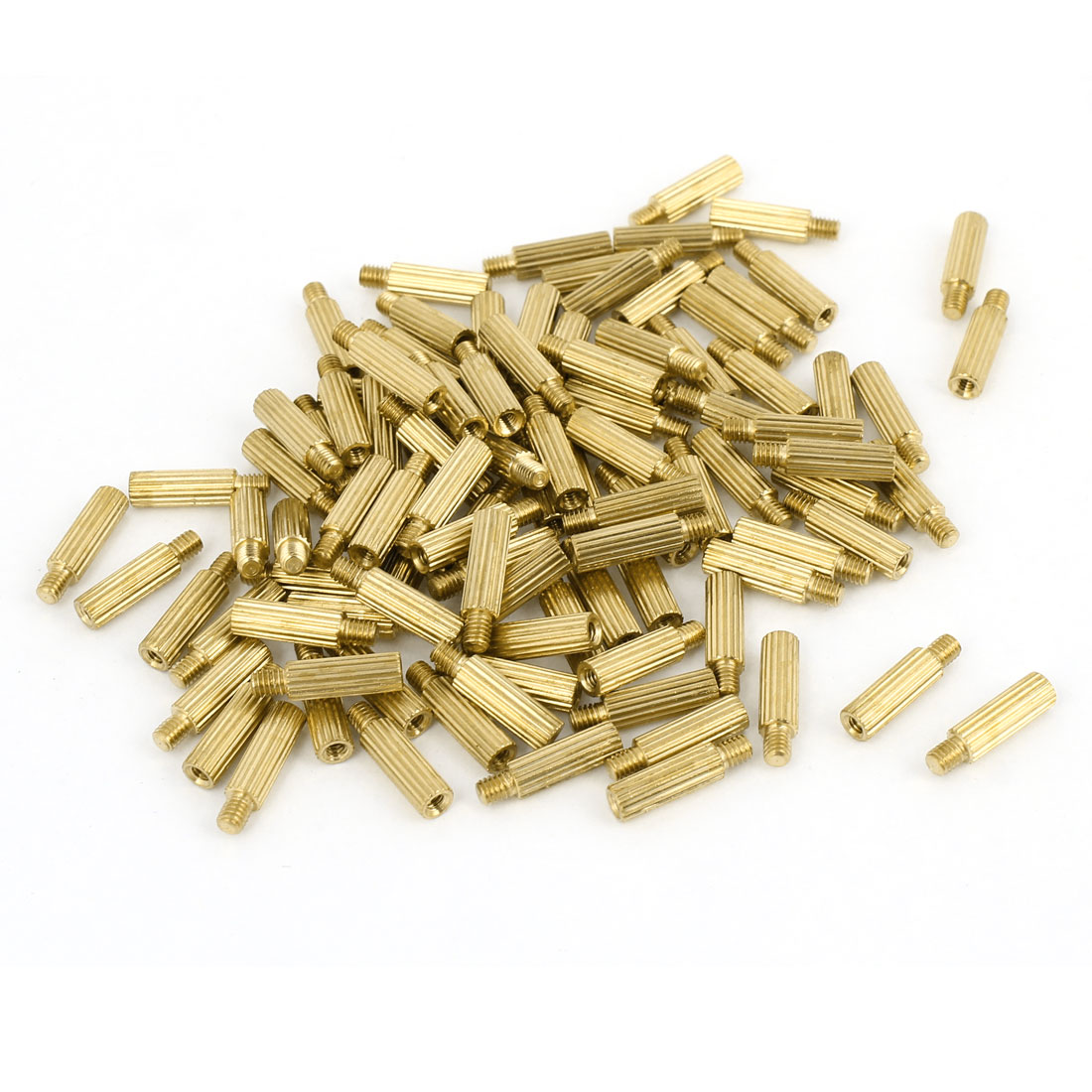 100Pcs Male to Female Thread Grooved Brass Pillars Standoff M2x10mm