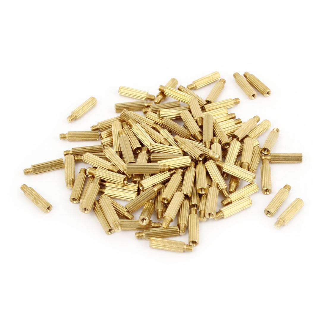 100Pcs Male to Female Thread Grooved Brass Pillars Standoff M2x11mm