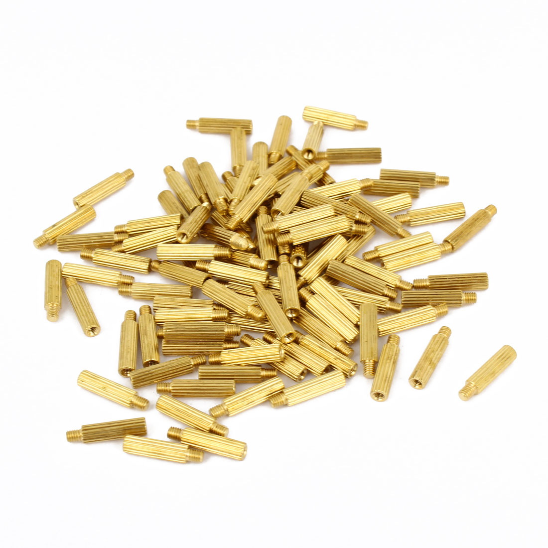 100Pcs Male to Female Thread Grooved Brass Pillars Standoff M2x12mm