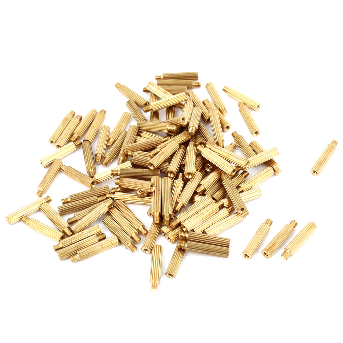 100Pcs Male to Female Thread Grooved Brass Pillars Standoff M2x14mm