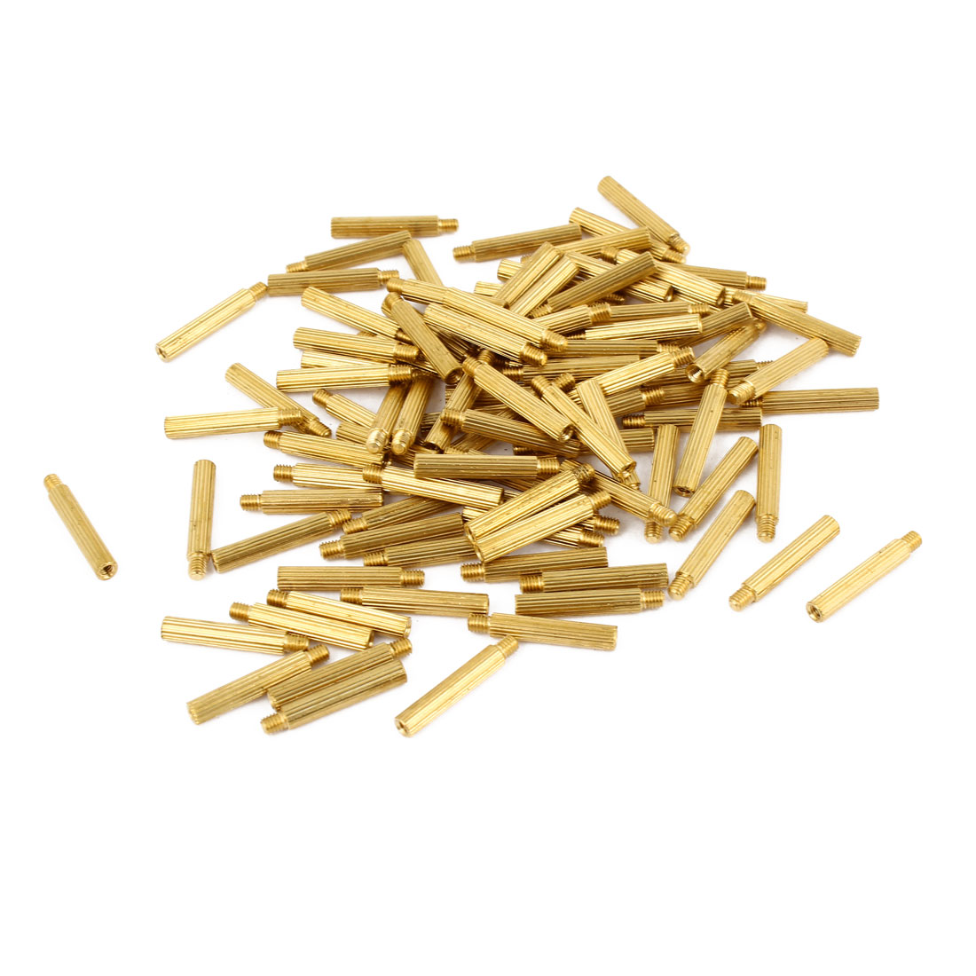 100Pcs Male to Female Thread Grooved Brass Pillars Standoff M2x16mm