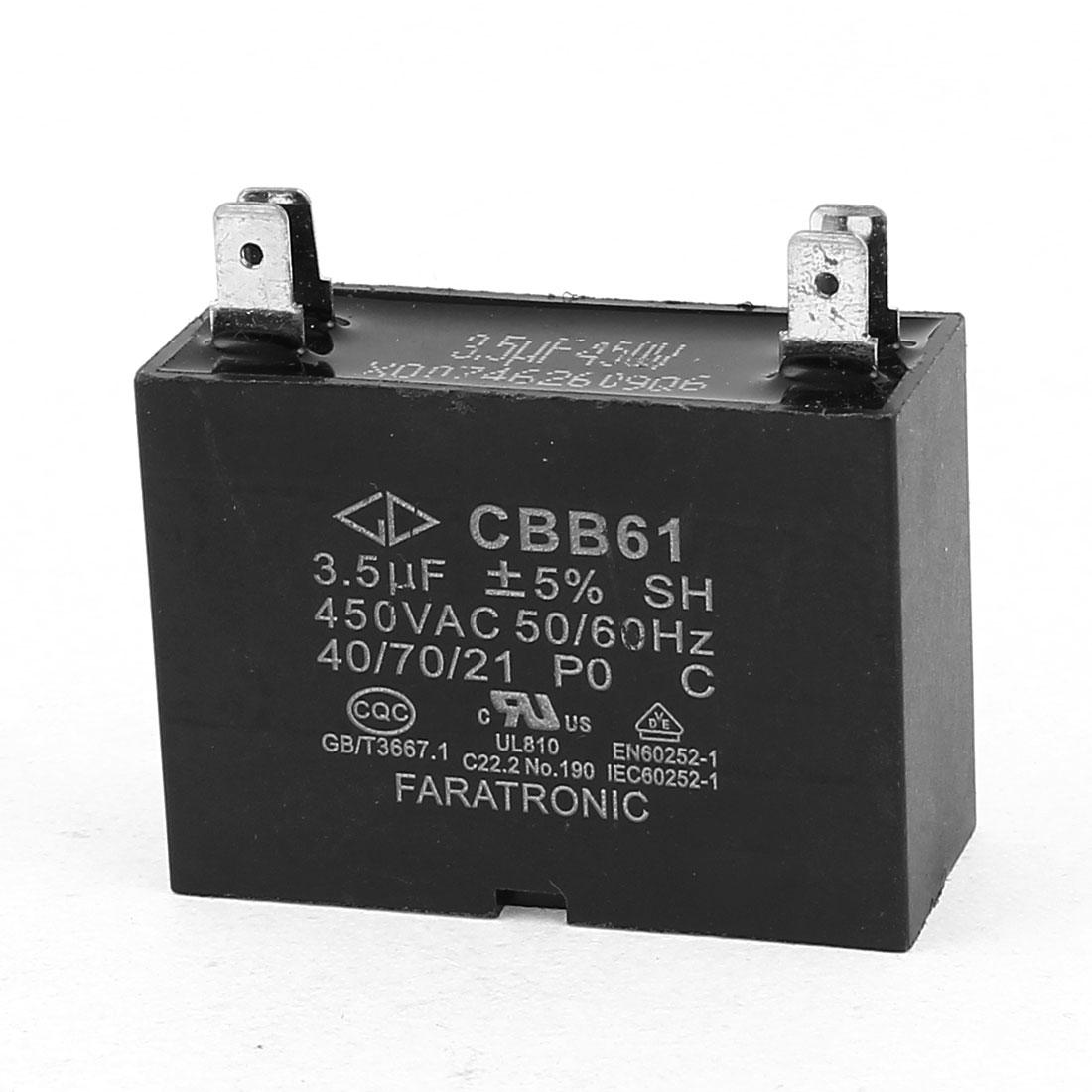 CBB61 AC 450V 3.5uF 5% Tolerance 4-Pin Soldered Air Conditioner Motor Running Capacitor