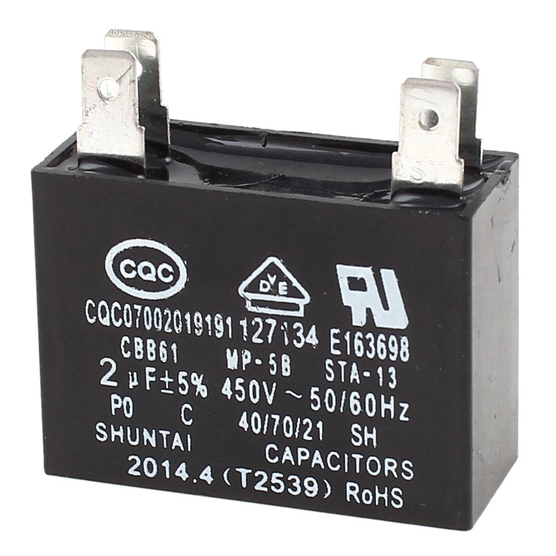 CBB61 AC 450V 2uF 5% Tolerance 4-Pin Soldered Air Conditioner Fan Motor Running Capacitor