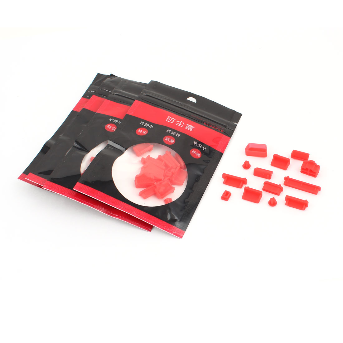 5 Set 13 in 1 Red Silicon Anti Dust Connector Cover Stopper for MacBook Pro Air Laptop Notebook