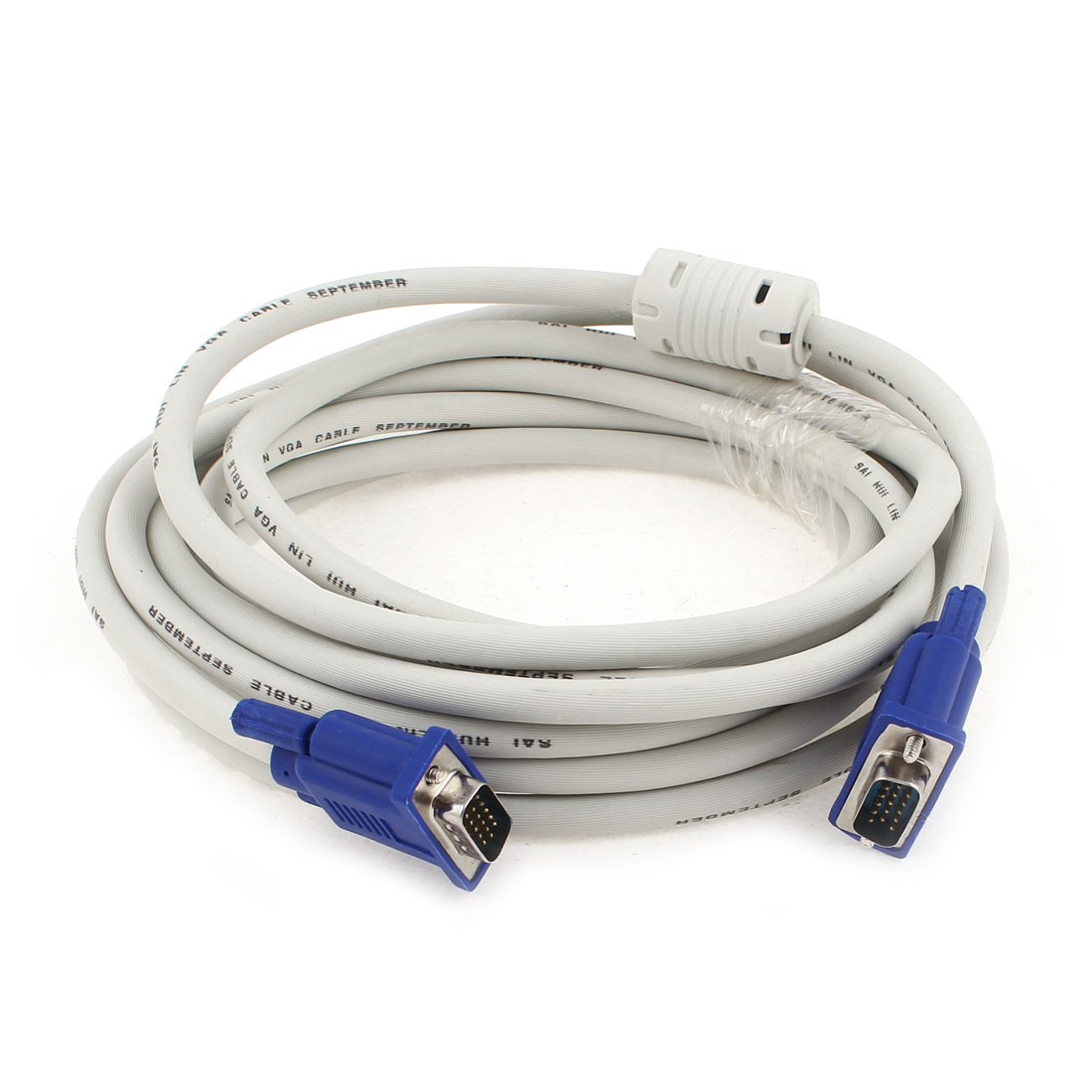 HD15 Pin to HD 15 Pin Projector Printer PC TV VGA Cable 5 Meters Length White