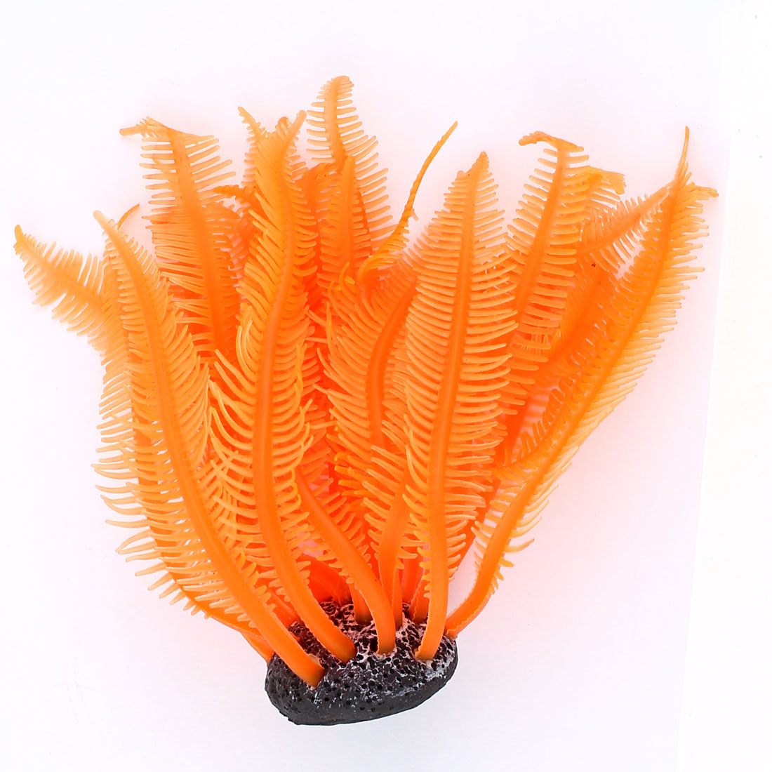 "Aquarium Underwater Plastic Artificial Grass Plant Decor Orange 6.7 "" Length"