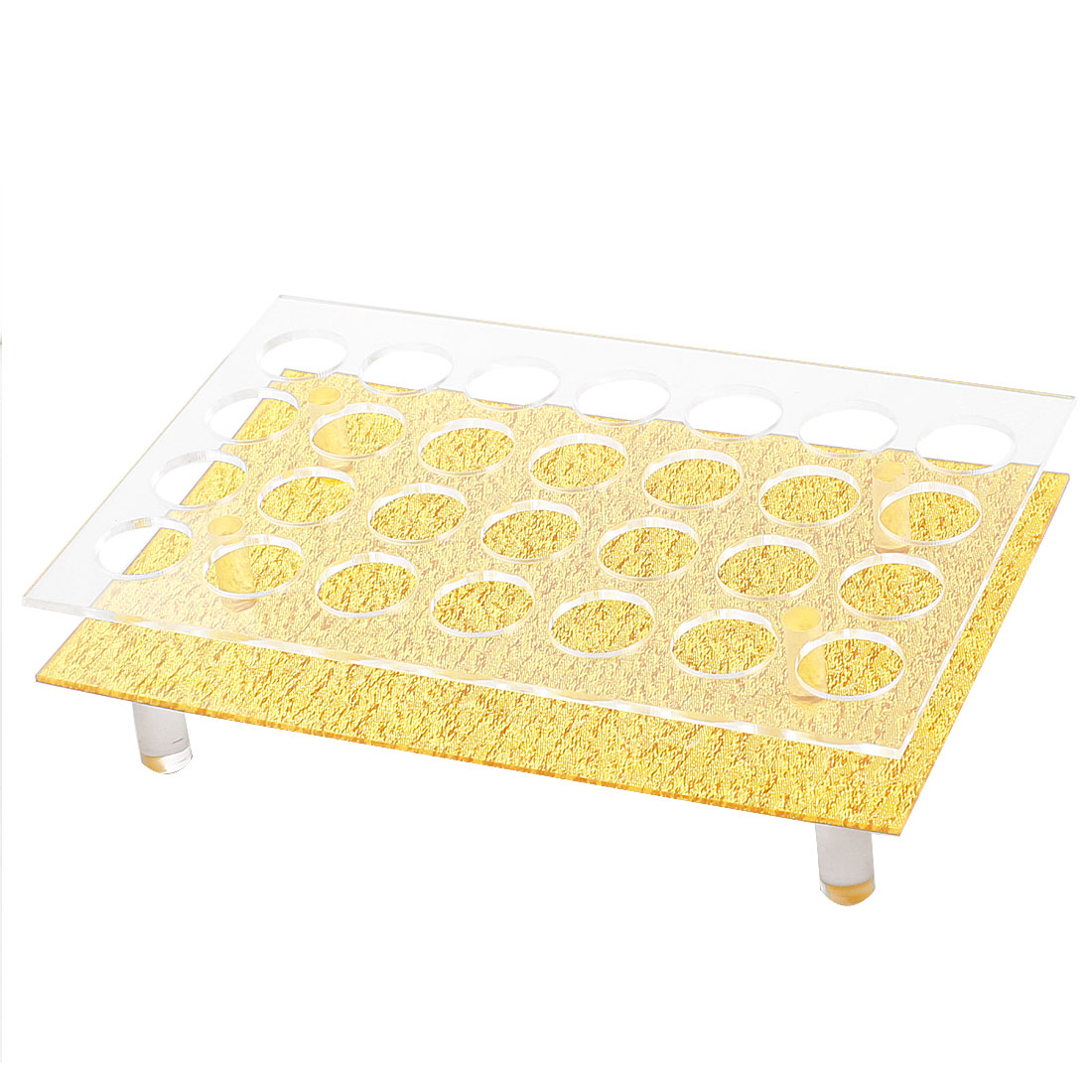 Plastic 28 Compartments Rectangle Shaped Makeup Cosmetics Lipstick Case Organizer Storage Insert Holder Clear Gold Tone