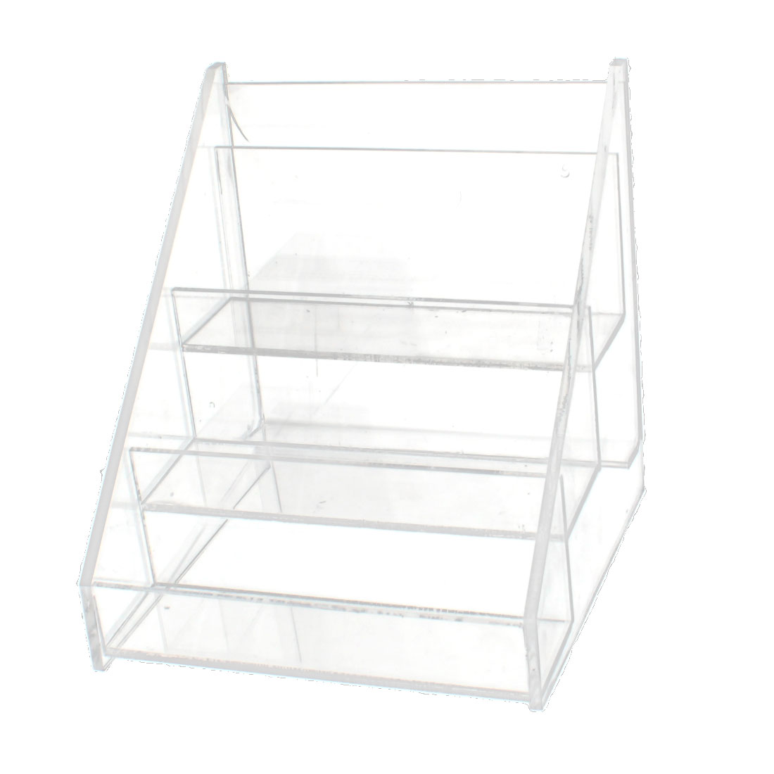 Plastic 3 Compartments Ladder Shaped Makeup Cosmetics Nail Polish Organizer Case Storage Insert Holder Clear