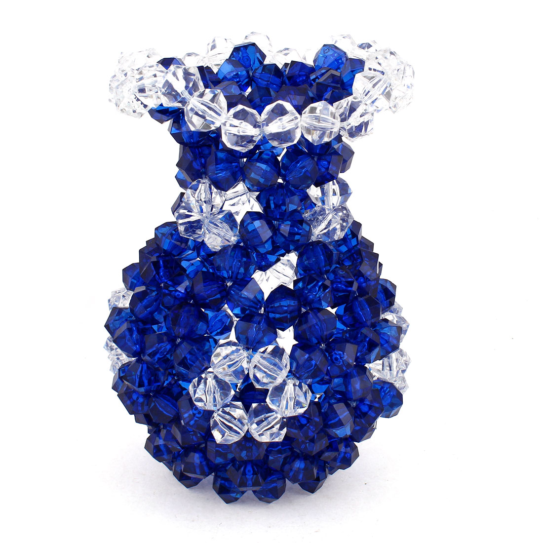 "Room Decoration Handcraft Acrylic Beads Faux Crystal Vase 7.1"" Royal Blue Clear"