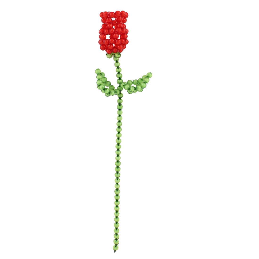 Green Red Room Decoration Handcraft Emulational Plastic Crystal Beaded Rose 12.6""
