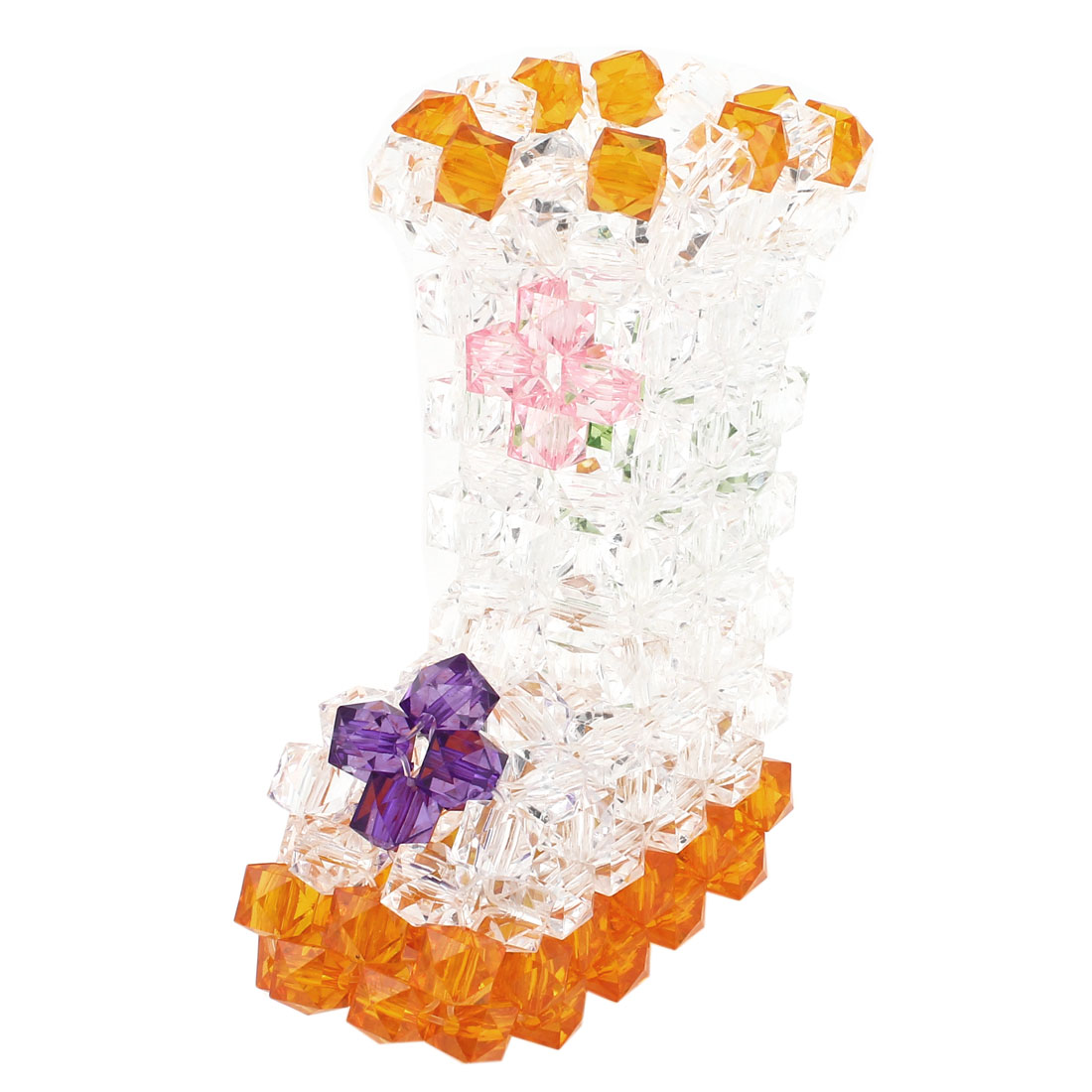 Orange Clear Boot Shaped Handcraft Plastic Crystal Beads Vase Craft Room Decoration 5""