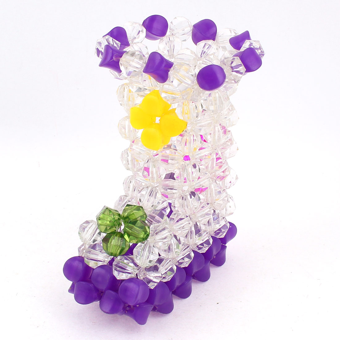 Purple Clear Boot Shaped Handcraft Plastic Crystal Beads Vase Craft Home Ornaments 4.7""