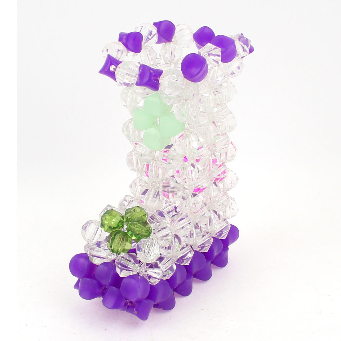 """Purple Clear Boot Shaped Handcraft Plastic Crystal Beads Vase Craft Room Decoration 4.7"""""""