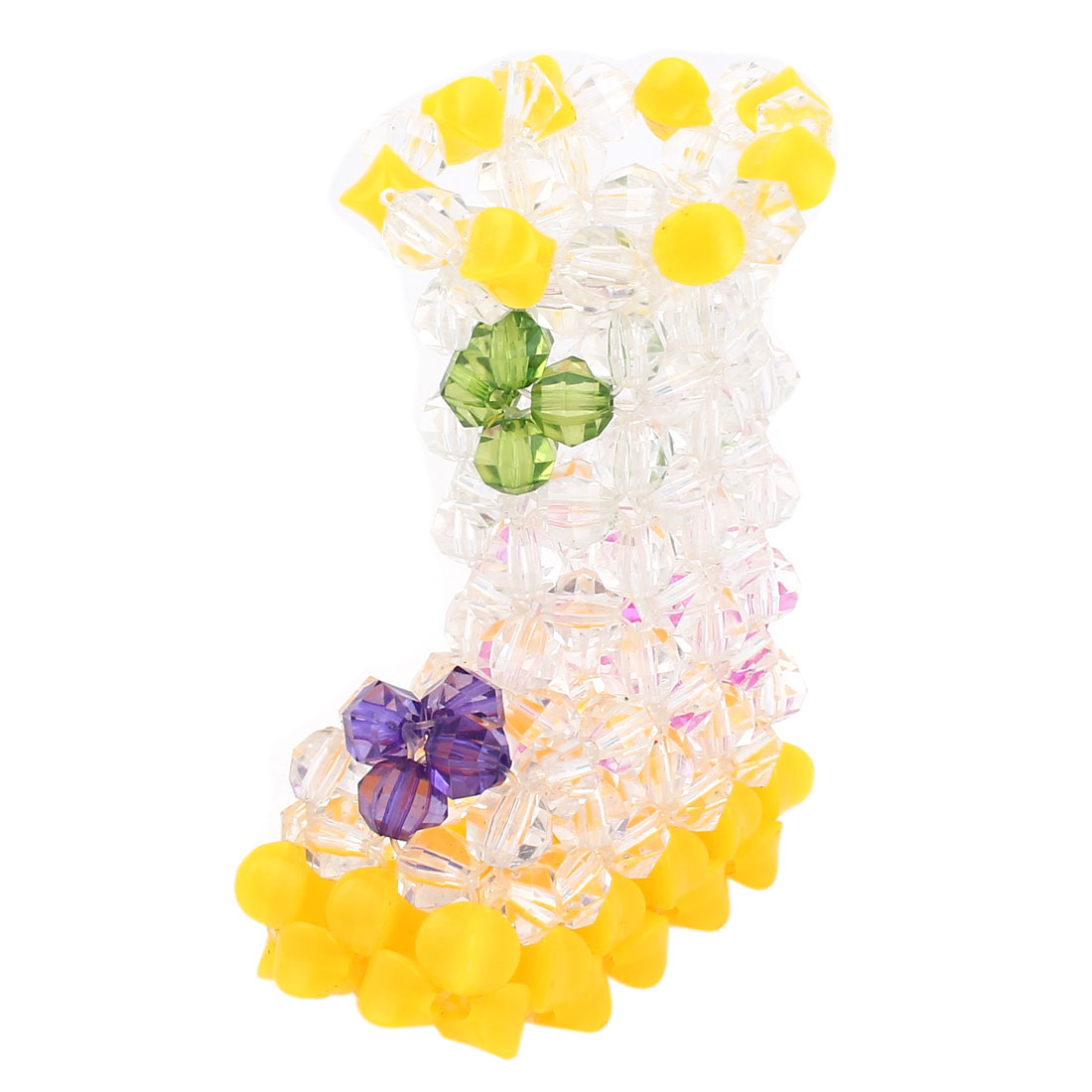 Yellow Clear Boot Shaped Handcraft Plastic Crystal Beads Vase Craft Room Decoration 4.7""