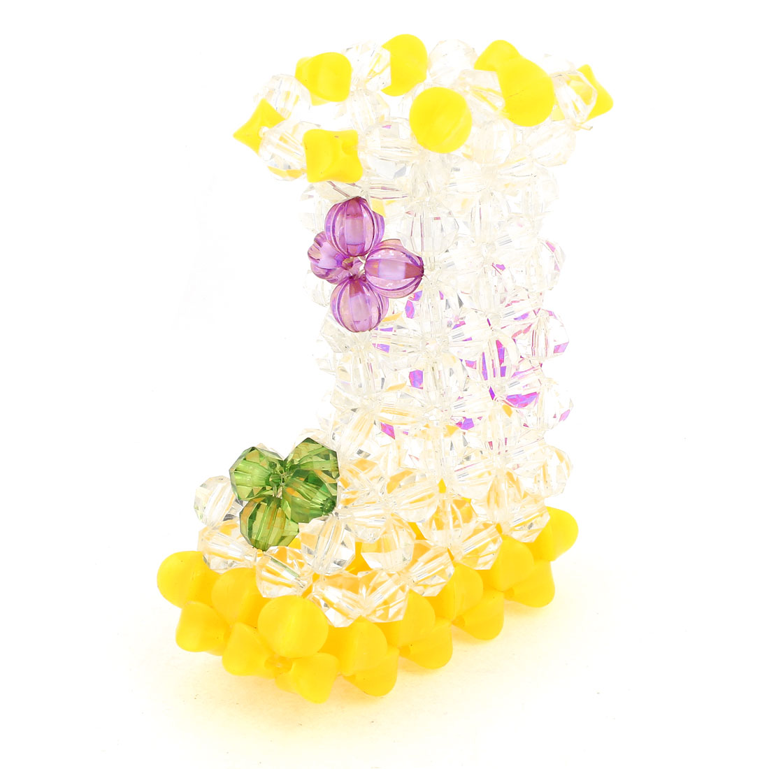Yellow Clear Boot Shaped Handcraft Plastic Crystal Beads Vase Craft Home Ornaments 4.7""