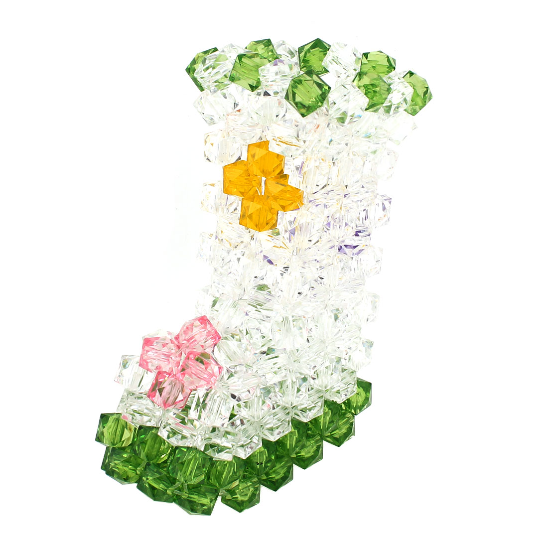 Green Clear Boot Shaped Handcraft Plastic Crystal Beads Vase Craft Room Decoration 5.1""