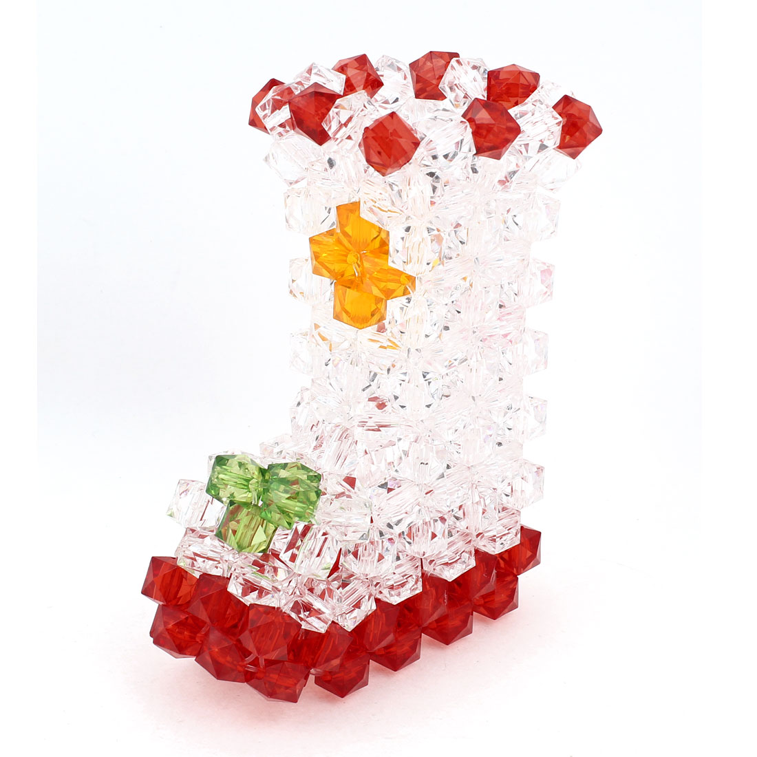 Red Clear Boot Shaped Handcraft Plastic Crystal Beads Vase Craft Home Ornaments 5.1""