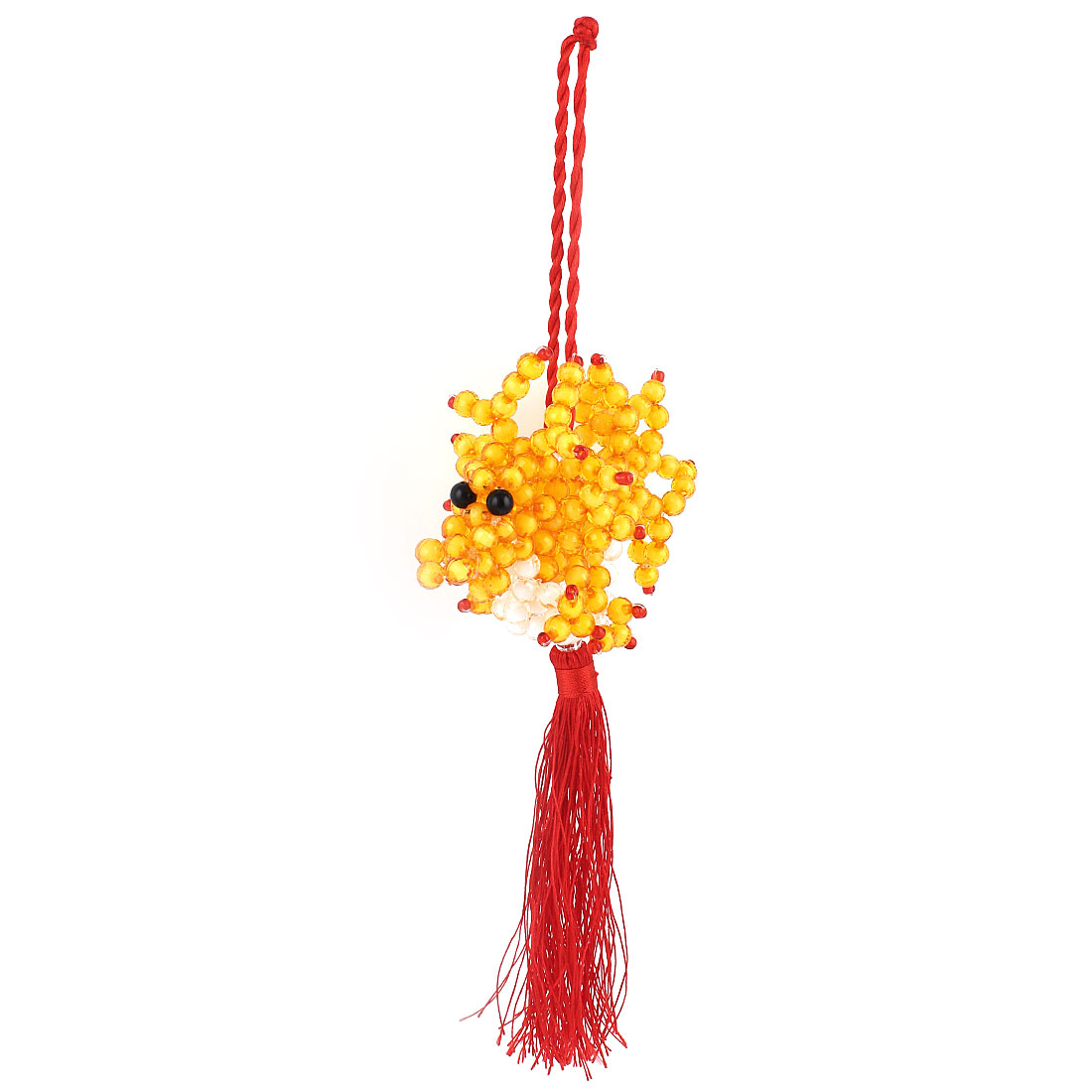 Car Hang Room Decoration Yellow White Beaded Dragon Shaped Red Tassel Pendant Hanging