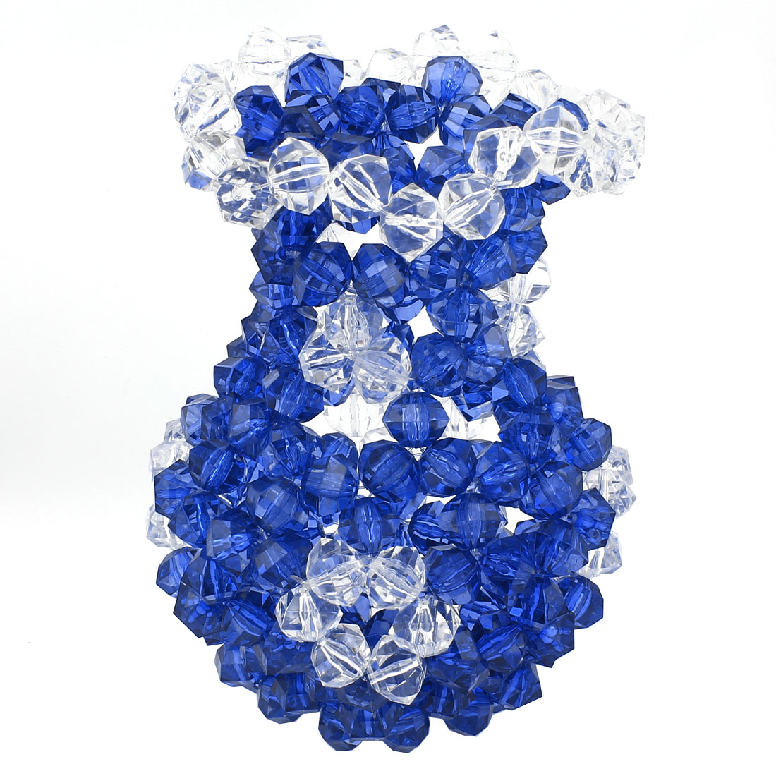 Blue Clear Room Decoration Handcraft Plastic Crystal Beads Vase Craft 7.1""