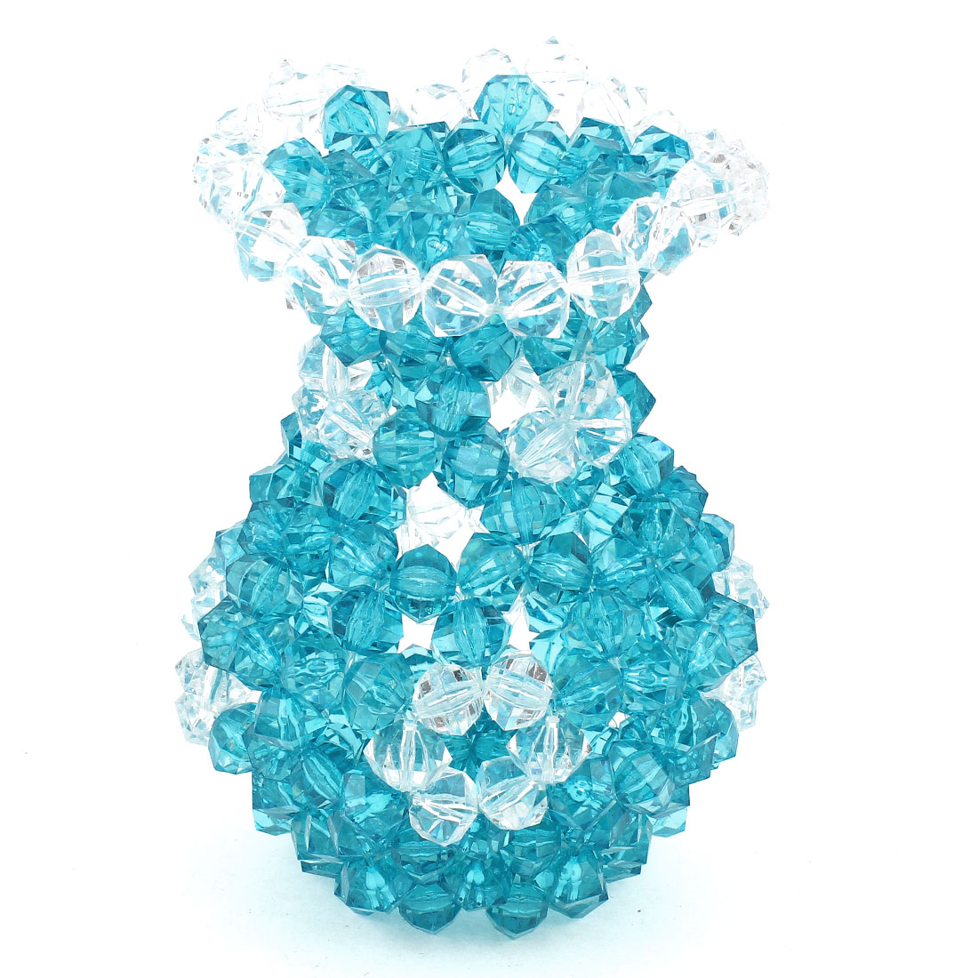 Aquamarine Clear Room Decoration Handcraft Acrylic Beads Faux Crystal Vase 7.1""