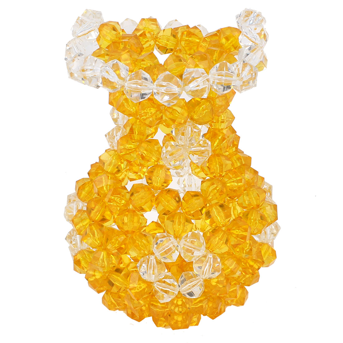 "Room Decoration Handcraft Acrylic Beads Faux Crystal Vase 7.1"" Orange Clear"