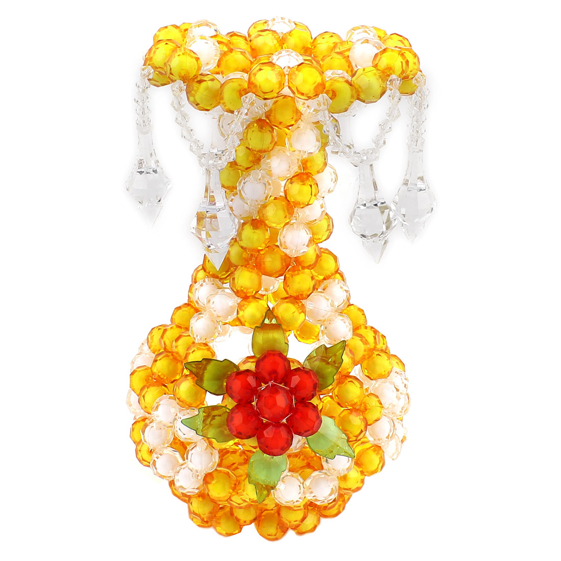 White Yellow Room Decoration Handcraft Plastic Crystal Beads Vase Craft 7.9""