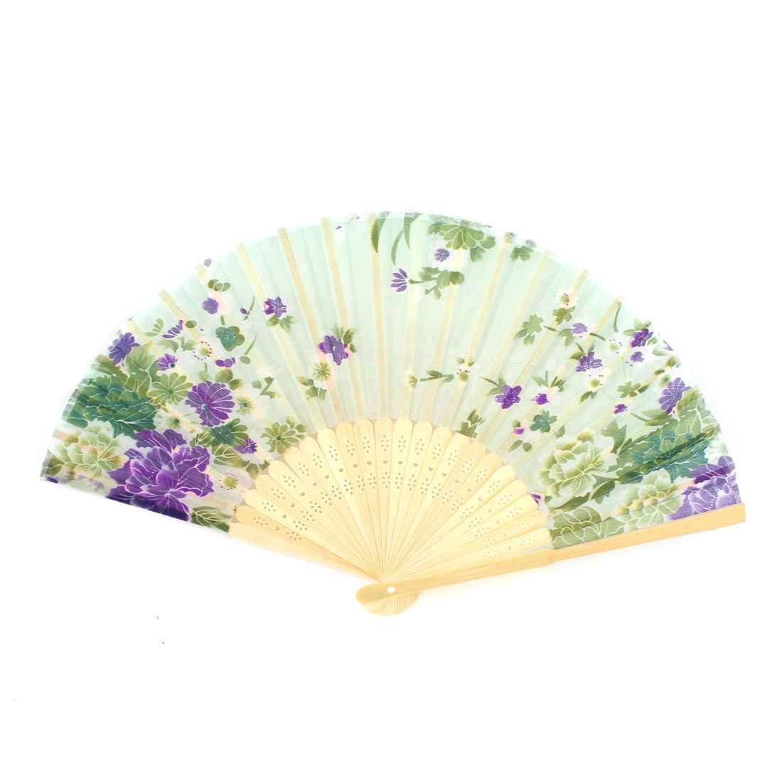 "14.2"" Green Fabric Flower Print Bamboo Hollow Out Ribs Folding Hand Fan"