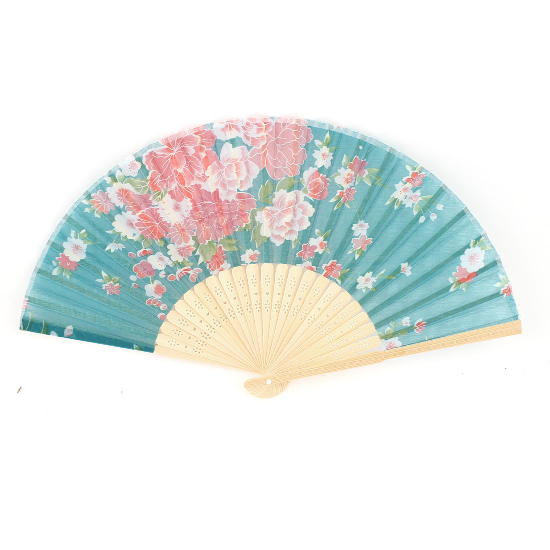 "14.2"" Teal Fabric Flower Print Bamboo Hollow Out Ribs Folding Hand Fan"