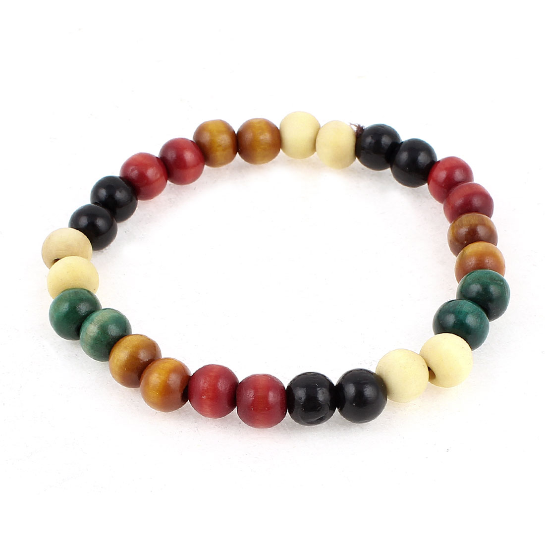 Handmade Assorted Color Wood Round Beads Decor Elastic Wrist Bracelet