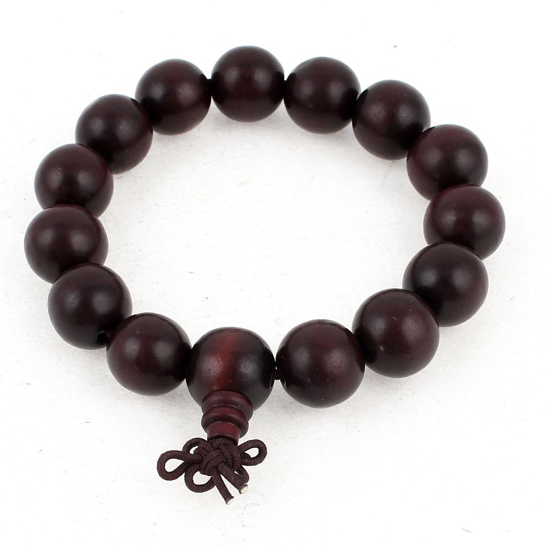 26cm Girth Wood Dark Brown Round Bead Elastic Bracelet for Unisex