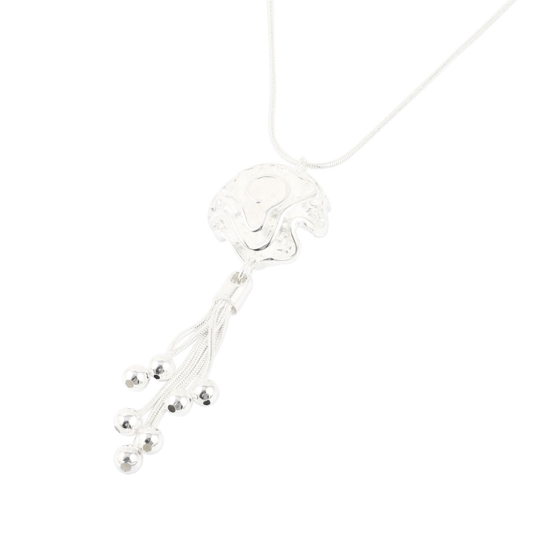 Woman Flower Metal Beads Tassel Detail Pendant Necklace Silver Tone 18""