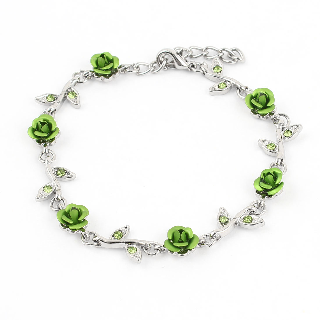 Lady Lobster Hook Rose Decor Adjustable Chain Wrist Bracelet Green Silver Tone