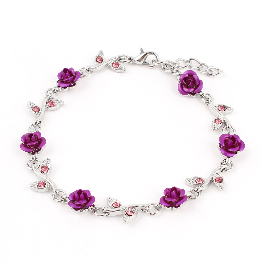 Lady Lobster Hook Rose Decor Adjustable Chain Wrist Bracelet Fuchsia Silver Tone