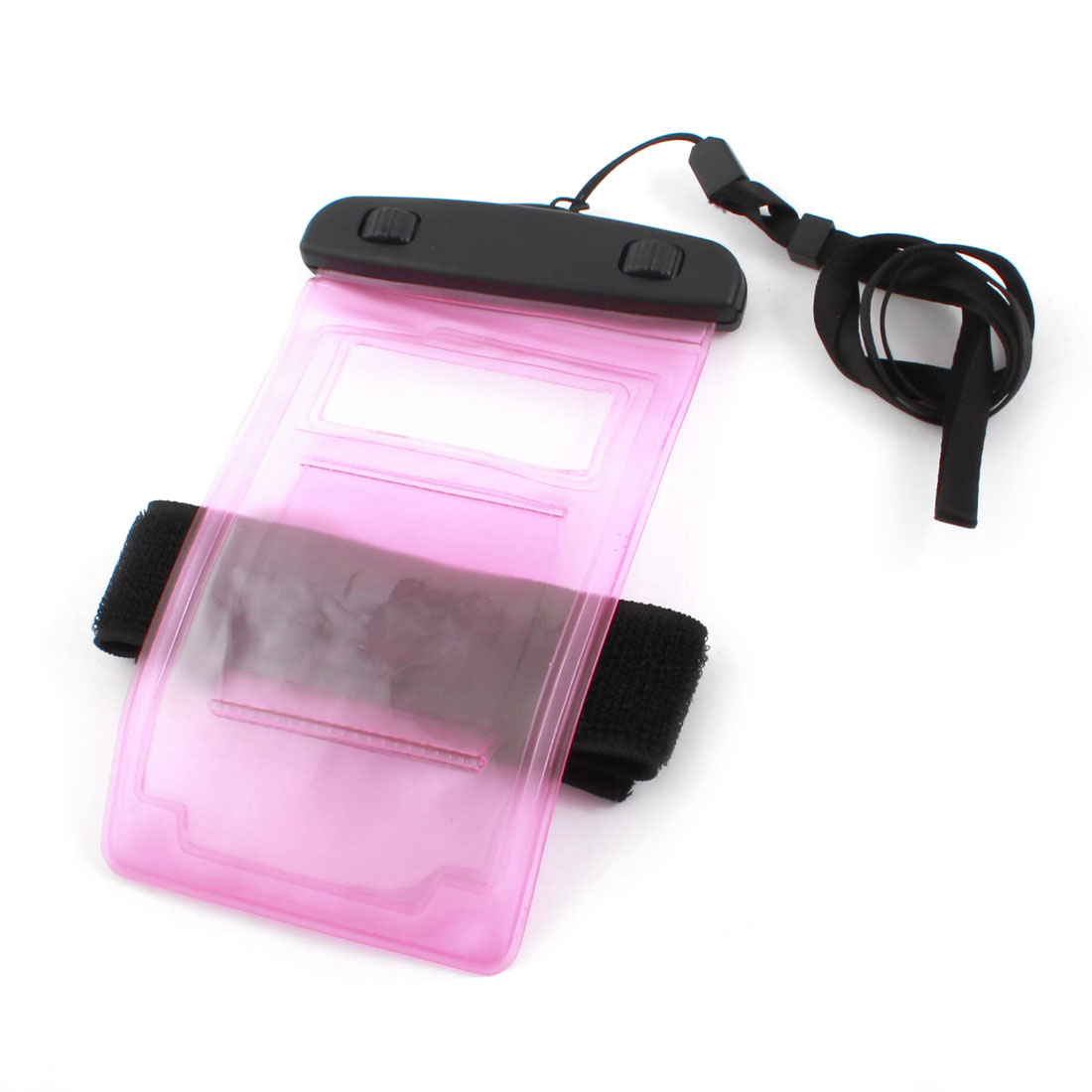 Clear Pink Waterproof Phone Smartphone Pouch Dry Bag Cover w Neck Strap Armband
